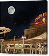 Union Station Denver Under A Full Moon Canvas Print