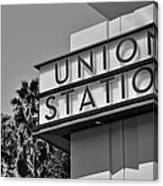 Union Station Sign Black And White Canvas Print