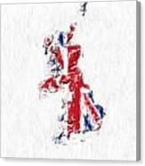 United Kingdom Painted Flag Map Canvas Print