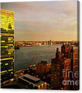 United Nations Building At Nightfall With Chrysler Building Reflection - Landmark Buildings  Canvas Print
