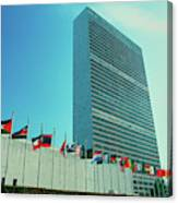 United Nations Building With Flags Canvas Print