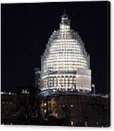 United States Capitol Dome Scaffolding At Night Canvas Print