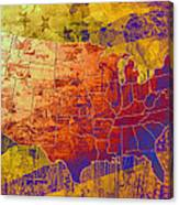 United States Flag Map Vintage 2 Canvas Print