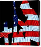 A Time To Remember United States Flag With Kneeling Soldier Silhouette Canvas Print
