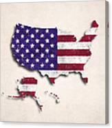 United States Map Art With Flag Design Canvas Print