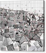 United States Map Collage 3 Canvas Print