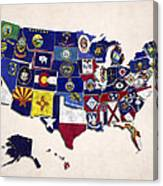 United States Map With Fifty States Canvas Print