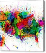 United States Paint Splashes Map Canvas Print