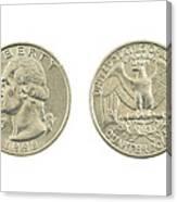 United States Quarter On White Background Canvas Print