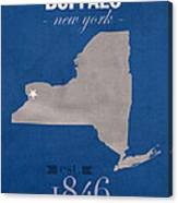 University At Buffalo New York Bulls College Town State Map Poster Series No 022 Canvas Print