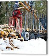 Unloading Of Logs On Transport Canvas Print