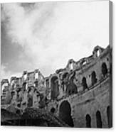 Upper Tiers Of The Old Roman Colloseum From The Inside Looking Up At Blue Cloudy Sky At El Jem Tunisia Canvas Print