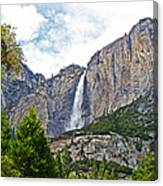 Upper Yosemite Falls From The Valley Floor In Yosemite National Park-california Canvas Print