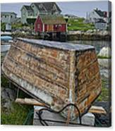 Upside Down Boat In Peggy's Cove Harbour Canvas Print