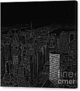 Uptown Nyc White On Black Canvas Print