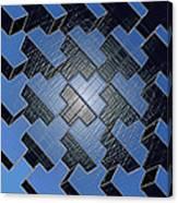 Urban Blue City Boxes Cube Leather Canvas Print