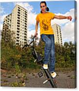 Urban Bmx Flatland With Monika Hinz Canvas Print