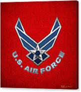 U. S. Air Force  -  U S A F Logo On Red Leather Canvas Print