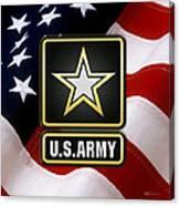 U. S. Army Logo Over American Flag. Canvas Print