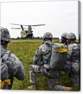 U.s. Army Paratroopers Prepare To Board Canvas Print