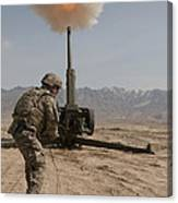 U.s. Army Soldier Fires A 122mm Canvas Print