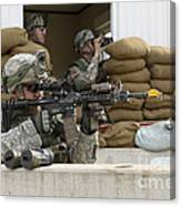 U.s. Army Soldier Looks Down The Scope Canvas Print