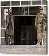 U.s. Army Soldier Stands Guard In Farah Canvas Print