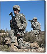 U.s. Army Soldiers Scan The Terrain Canvas Print