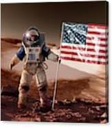 Us Astronaut On Mars Canvas Print