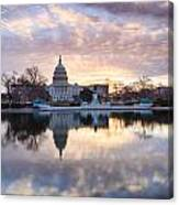 Washington Dc Us Capitol Building At Sunrise Canvas Print