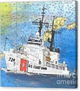 Us Coast Guard Cutter Munro Nautical Chart Cape San Blas Lighthouse Fl Nautical Chart Cathy Peek Canvas Print