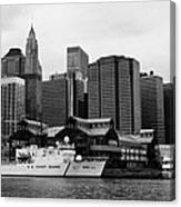 Us Coastguard Cutter Vessel Ship Berthed In Lower Manhattan New York City Canvas Print