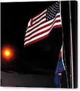 Us Flag Arizona Flag Twilight Casa Grande Arizona 2005 Canvas Print