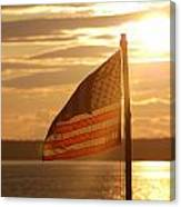 Us Flag At Sunset Canvas Print
