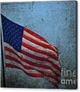 Us Flag -blue Antiqued Canvas Print