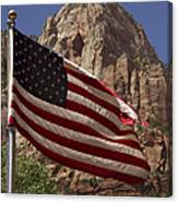 U.s. Flag In Zion National Park Canvas Print