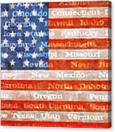 Us Flag With States Canvas Print