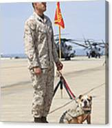 U.s. Marine And The Official Mascot Canvas Print