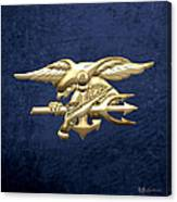 U. S. Navy S E A Ls Emblem On Blue Velvet Canvas Print