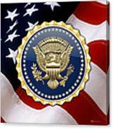 Presidential Service Badge - P S B Over American Flag Canvas Print