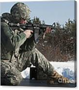 U.s. Soldier Fires His M4a3 Carbine Canvas Print