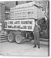 U.s. Soldier Guards A Truck Holding Canvas Print