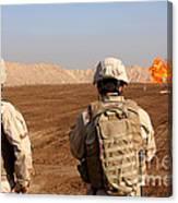 U.s. Soldiers Detonate A Test Explosion Canvas Print