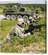 U.s. Soldiers Move Into Firing Canvas Print