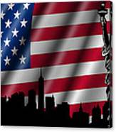 Usa American Flag With Statue Of Liberty Skyline Silhouette Canvas Print