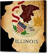 Usa American Illinois State Map Outline With Grunge Effect Flag Canvas Print
