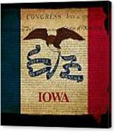 Usa American Iowa State Map Outline With Grunge Effect Flag And  Canvas Print