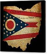 Usa American Ohio State Map Outline With Grunge Effect Flag Inse Canvas Print