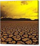 Usa, California, Cracked Mud In Dry Canvas Print