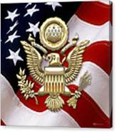U. S. A. Great Seal In Gold Over American Flag  Canvas Print